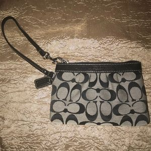 Authentic Coach Wristlet - Black and Gray